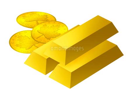 金塊と金貨のイラスト素材 [FYI03817147]