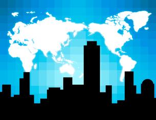 ビル街のシルエットと世界地図のイラスト素材 [FYI03817152]