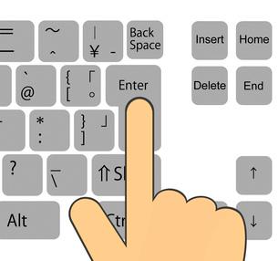 エンターキーを押す指のイラスト素材 [FYI03817159]