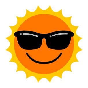 サングラスをかけた太陽のイラスト素材 [FYI03817170]