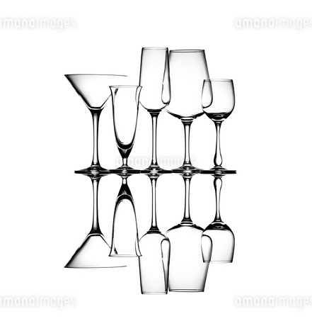 Group of wine glasses abstract artの写真素材 [FYI03817467]