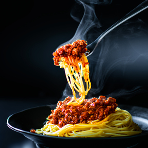 Italian spaghetti with a bolognese meat sauceの写真素材 [FYI03817480]
