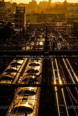 夕暮れの街並みと線路のイメージの写真素材 [FYI03817929]
