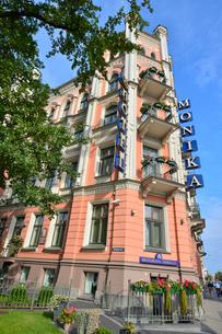 ラトビア・首都リガの1883年築のネオゴシック様式の建物を利用した宿泊施設モニカ・セントラム・ホテルズの写真素材 [FYI03818192]