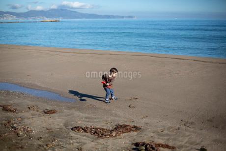 砂浜でスコップで一人で遊ぶ男の子の写真素材 [FYI03820215]