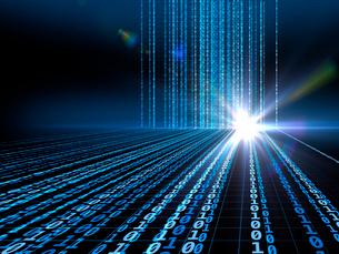 輝く光芒と垂直から放射に変わるデジタル数字のイラスト素材 [FYI03820745]