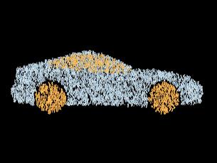 デジタル数字で構成されるスポーツカーのイラスト素材 [FYI03820765]