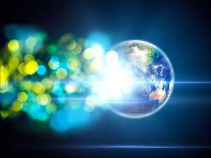 地球から放たれる色鮮やかな光芒群のイラスト素材 [FYI03820766]