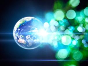 地球から放たれる色鮮やかな光芒群のイラスト素材 [FYI03820767]