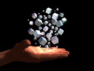 掌に浮かぶ金属質のブロックの塊のイラスト素材 [FYI03820823]