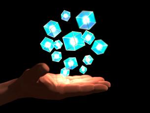 掌に浮かぶ光を内包する枠構造ブロックの塊のイラスト素材 [FYI03820824]