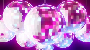 Disco balls on black backgroundのイラスト素材 [FYI03821135]