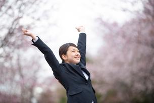 桜並木の前で伸びをするフレッシャーズの写真素材 [FYI03821864]
