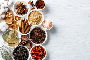 Set of spices on white background.Top view.Organic concept.の写真素材 [FYI03821921]