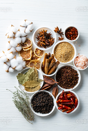 Set of spices on white background.Top view.Organic concept.の写真素材 [FYI03821922]