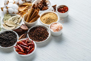 Set of spices on white background.Top view.Organic concept.の写真素材 [FYI03821924]