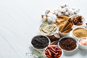Set of spices on white background.Top view.Organic concept.の写真素材 [FYI03821925]