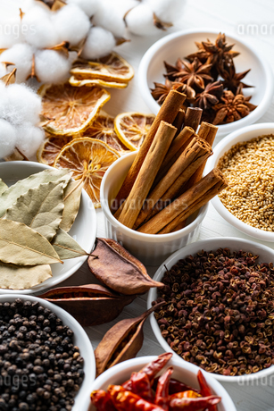 Set of spices on white background.Top view.Organic concept.の写真素材 [FYI03821926]