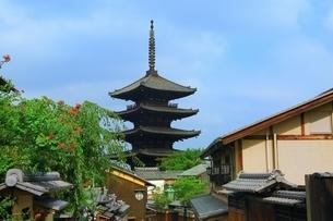 八坂通りから望む八坂の塔の写真素材 [FYI03822297]