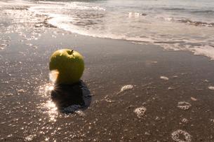 波打ち際の青りんごの写真素材 [FYI03822727]