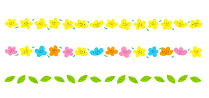 花のボーダーラインセットのイラスト素材 [FYI03823004]