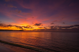 グアム ガン・ビーチからみる夕方の海の風景の写真素材 [FYI03823043]