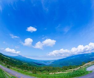 北海道 自然 風景 きじひき高原より函館市方面遠望 (魚眼)の写真素材 [FYI03824124]