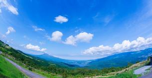 北海道 自然 風景 きじひき高原より函館市方面遠望 (魚眼)の写真素材 [FYI03824125]