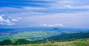 北海道 自然 風景 パノラマ きじひき高原より函館、北斗市街遠望の写真素材 [FYI03824129]