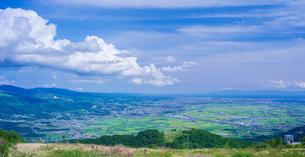 北海道 自然 風景 パノラマ きじひき高原より函館、北斗市街遠望の写真素材 [FYI03824133]