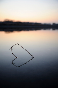 静かな川面のハートの写真素材 [FYI03824267]