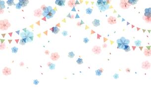 花とフラッグのイラスト素材 [FYI03824386]