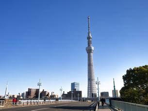 言問橋から見た東京スカイツリーの写真素材 [FYI03824802]
