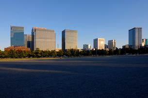 皇居前広場と夕日を浴びる丸の内の高層ビル群の写真素材 [FYI03825240]