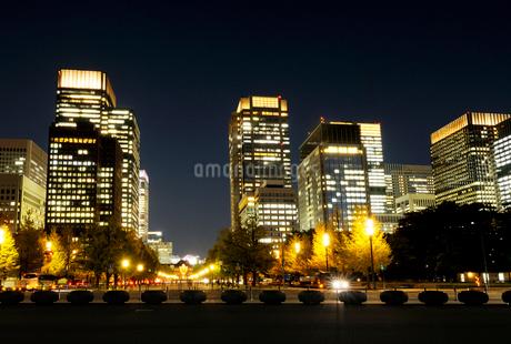 皇居前広場から見る丸の内の夜景の写真素材 [FYI03825247]