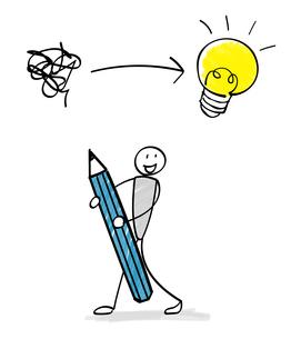 鉛筆を持つ人物と電球のイラスト素材 [FYI03825307]