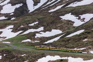 スイスの登山鉄道、ヴェンゲルンアルプ鉄道の写真素材 [FYI03825405]