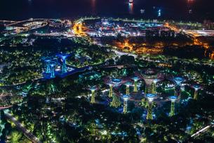 マリーナ・ベイ・サンズ展望台からの夜景(シンガポール)の写真素材 [FYI03825665]