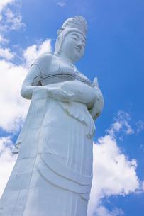 太平洋をを見つめる釜石大観音の写真素材 [FYI03825978]