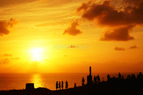 御神岬の夕日の写真素材 [FYI03826144]