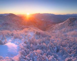 霧氷の樹林と朝日と富士山と八ヶ岳連峰と南アルプスの写真素材 [FYI03826200]