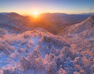 霧氷の樹林と朝日と富士山と八ヶ岳連峰と南アルプスの写真素材 [FYI03826201]