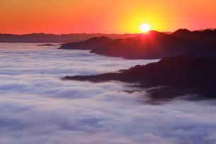 十観山から望む荒船山などの山並みと雲海と朝日の写真素材 [FYI03826309]
