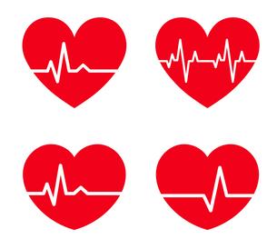 心電図のリズムとハートのイラストセットのイラスト素材 [FYI03826670]