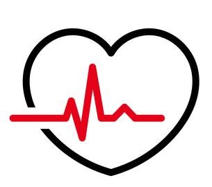 心電図のリズムとハートのイラストのイラスト素材 [FYI03826672]