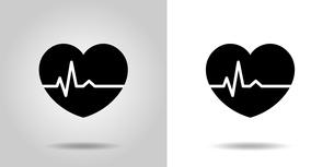 心電図のリズムとハートのイラストのイラスト素材 [FYI03826673]