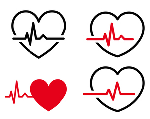 心電図のリズムとハートのイラストセットのイラスト素材 [FYI03826674]