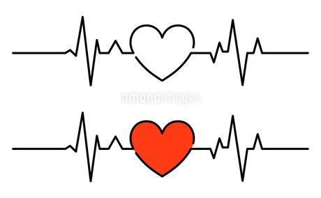 心電図のリズムとハートのイラストのイラスト素材 [FYI03826675]