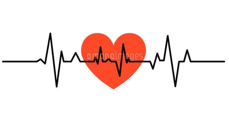 心電図のリズムとハートのイラストのイラスト素材 [FYI03826676]