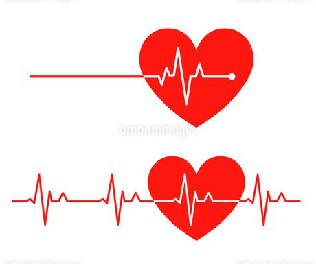 心電図のリズムとハートのイラストのイラスト素材 [FYI03826678]